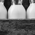 Milk Bottles 3 Black And White by Edward Fielding