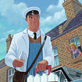 Milkman On Daily Milk Delivery In Urban Old Street by Martin Davey