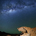Milky Way And Eroded Lava Rock Formation Bolivia by James Brunker