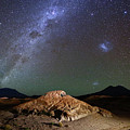 Milky Way And Volcanic Desert Landscapes North Lipez Bolivia by James Brunker