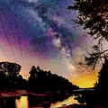 Milky Way Over The Saco River Maine  by JoAnn McDonald