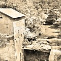 Mill Creek Park Lantermans Mill And Covered Bridge Black And White by Lisa Wooten