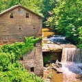 Mill Creek Park Lanterman's Mill And Covered Bridge Vertical by Lisa Wooten