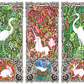 Millefleurs Triptych With Unicorn, Cranes, Rabbits And Dove by Lise Winne
