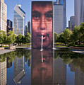 Millennium Park Fountain And Chicago Skyline by Steve Gadomski