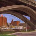 Miller Brewery Viewed Under Bridge by Anita Burgermeister