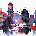 Milwaukee Watercolor Skyline by Dim Dom