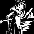 Miner With Pick Axe And Shovel  by Aloysius Patrimonio