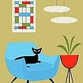 Mini Abstract With Turquoise Chair by Donna Mibus