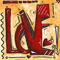 Mini Pop Art Gold Red Love Original Painting By Madart by Megan Duncanson