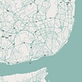 Minimalist Artistic Map Of Lisbon, Portugal 3 by Celestial Images