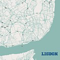 Minimalist Artistic Map Of Lisbon, Portugal 3a by Celestial Images