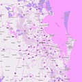 Minimalist Modern Map Of Brisbane, Australia 4 by Celestial Images