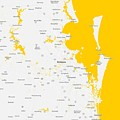 Minimalist Modern Map Of Brisbane, Australia 5 by Celestial Images