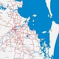 Minimalist Modern Map Of Brisbane, Australia 6 by Celestial Images