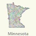 Minnesota Line Art Map by David Zydd