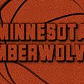 Minnesota Timberwolves Leather Art by Joe Hamilton
