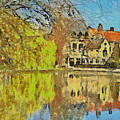 Minnewater Lake In Bruges Belgium by Digital Photographic Arts