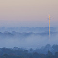 Mission Cross In Fog At Sunrise by Jackie Hird