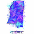 Mississippi Map Watercolor 2 by Bekim Art