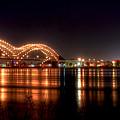 Mississippi Reflections De Soto Or M Bridge Memphis Tn by Reid Callaway