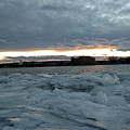 Missouri River Ice Sheet Sunset by Tiffani Burkett