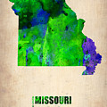 Missouri Watercolor Map by Naxart Studio