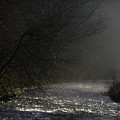 Mist Rising From The River Dove On A Winter's Day Dovedale Peak District Derbyshire England by Michael Walters
