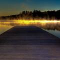 Misty Sunrise On Old Forge Pond by David Patterson