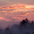 Misty Sunrise Panorama by E Faithe Lester