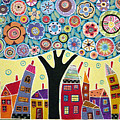 Mixed Media Collage Tree And Houses by Karla Gerard