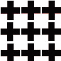 Mod Black And White Swiss Cross Mid Century Modern Design by Irene Irene