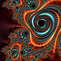 Modern Abstract Fractal Art Orange Cyan by Matthias Hauser