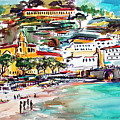 Modern Amalfi Watercolor And Ink Painting by Ginette Callaway