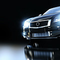 Modern Black Metallic Sedan Car In Spotlight. Banner by Michal Bednarek