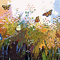 Modern Chamomille And Butterflies by Ginette Callaway