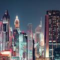 Modern City Architecture By Night. Dubai. by Dmitrii Telegin