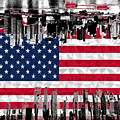 Modern City Scape American Flag by Ross