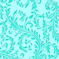 Modern Damask Aqua Teal Damask Floral Swirls by Tina Lavoie