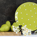 Modern Green And White Polka Dot Kitchen by Milleflore Images