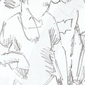 Modern Jive Ceroc Dancing Couple Pencil Drawing by Mike Jory