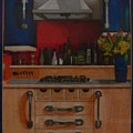 Modern Kitchen Red Blue And Steel by Serina Wells