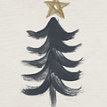 Modern Primitive Black and Gold Tree 1- Art by Linda Woods by Linda Woods