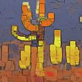 Modern Saguaro - Red by Linda Parker