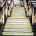 Modern Subway Steps In London Canary Wharf District by Leonardo Patrizi