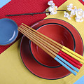 Modern Take On Traditional Japanese Oriental Place Setting by Milleflore Images