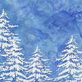 Modern Watercolor Winter Abstract - Snowy Trees by Audrey Jeanne Roberts