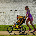 Moher And Child Jogging by Garry McMichael