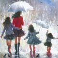 Mom Three Daughters Rain by Vickie Wade