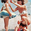 Mom With Girls At Beach by Royce Emley